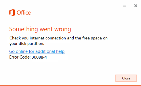 Ms office error code 30088